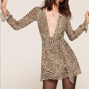 Reformation Whitby dress in neutral zebra